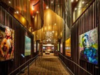 Fabricoil™ architectural coiled wire fabric system in Westwood Los Angeles iPic location