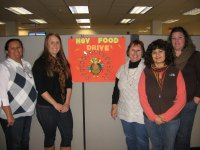 Zurn Wilkins Food Drive Committee (l to r):  Genoveva Gonzalez, Megan Chicoine from the San Luis Obispo County's Food Bank, Marguerite Hull, Martha Urquiza, and Cori Ryan