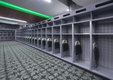 The locker room measures 5,000 square feet.