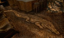 Giant African crocodile, made up of 20,000 wooden tiles and spanning 17 feet