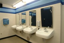 Restroom with lead-free fixtures inside Cathedral Prep Events Center in Erie, PA
