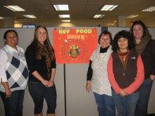 Zurn Wilkins Food Drive Committee (l to r):  Genoveva Gonzalez, Megan Chicoine from the San Luis Obispo County's Food Bank, Marguerite Hull, Martha Urquiza, and Cori Ryan